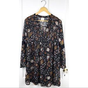Knox Rose Sheer Floral Long Sleeve Mini Shirtdress